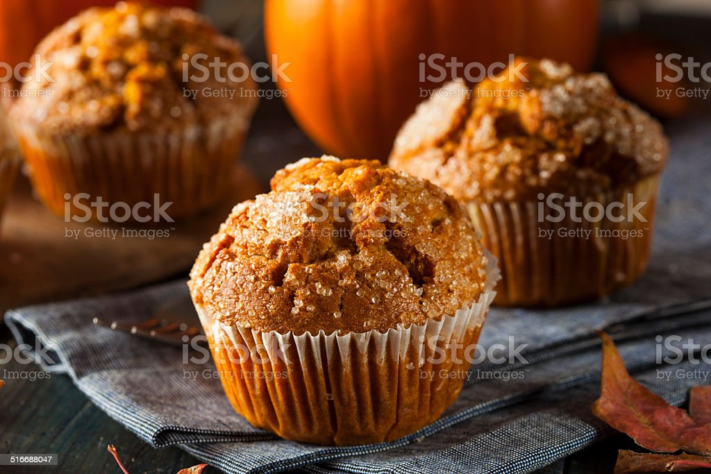 Homemade Autumn Pumpkin Muffin stock photo