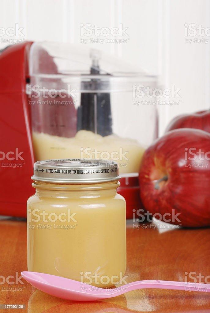 closeup of Homemade baby apple sauce