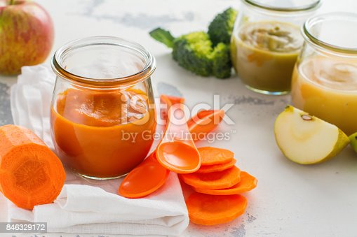 istock Homemade baby vegetable and fruit puree 846329172