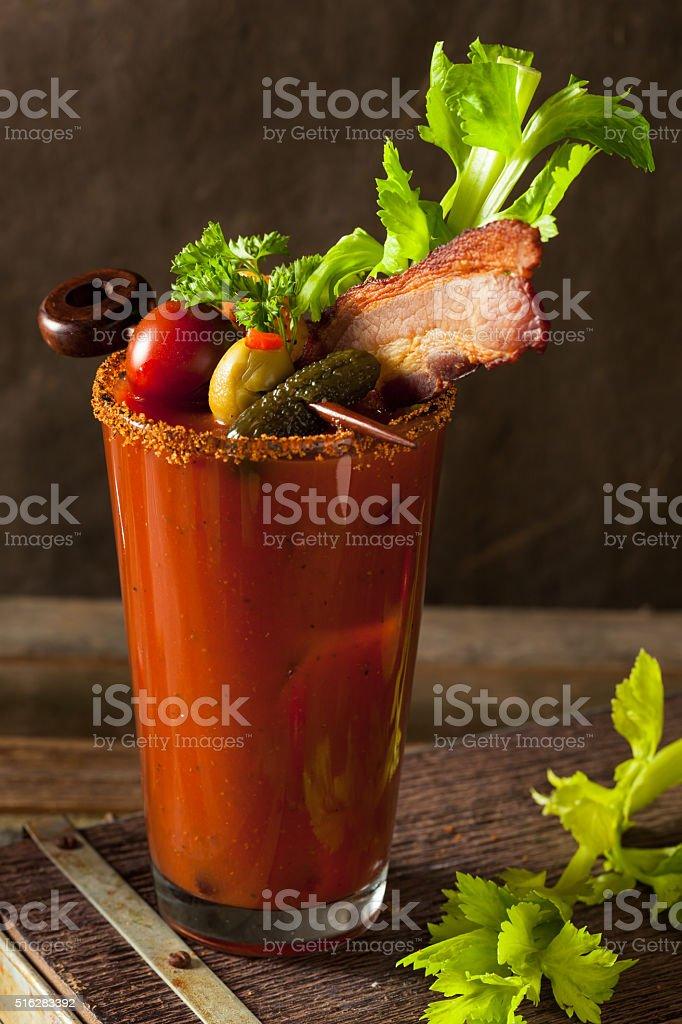 Homemade Bacon Spicy Vodka Bloody Mary stock photo