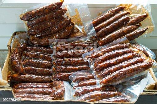 Artisan chorizos from Galicia, Spain.