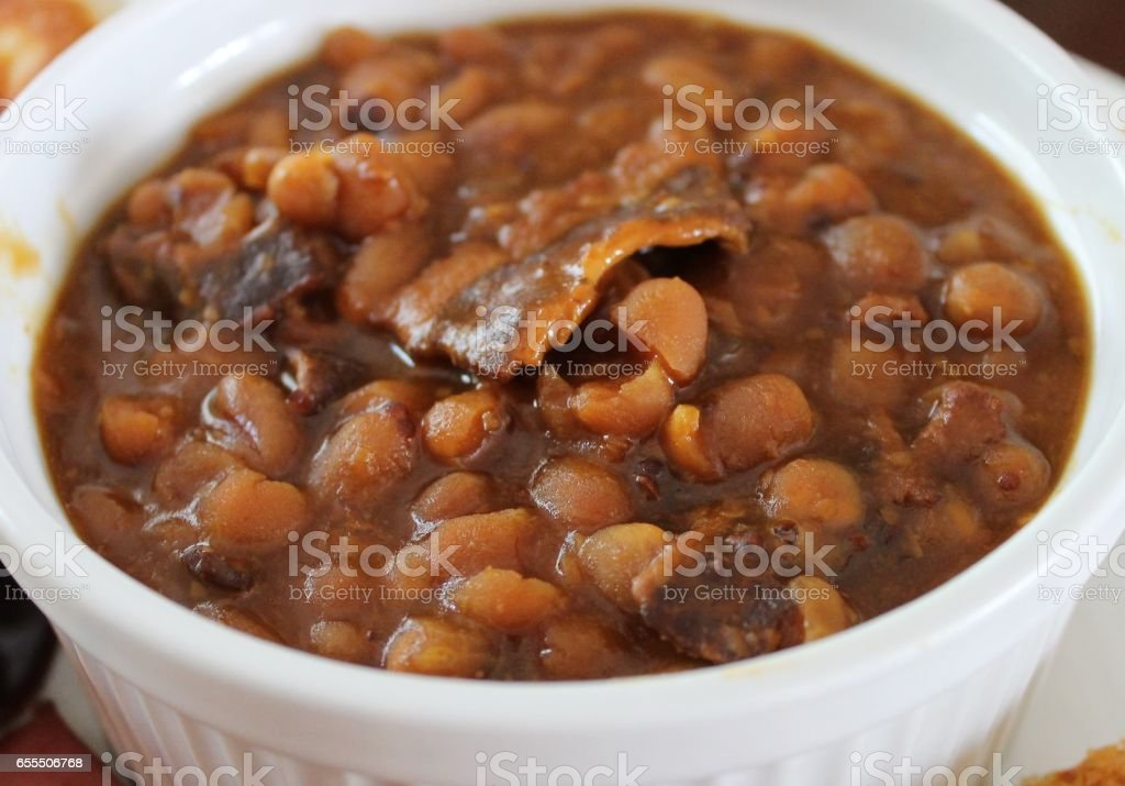 Homemade baked beans stock photo