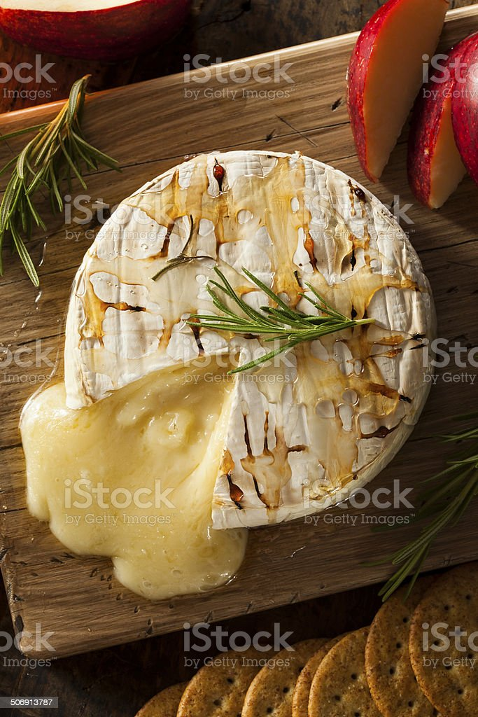 Homemade Baked Brie with Honey stock photo