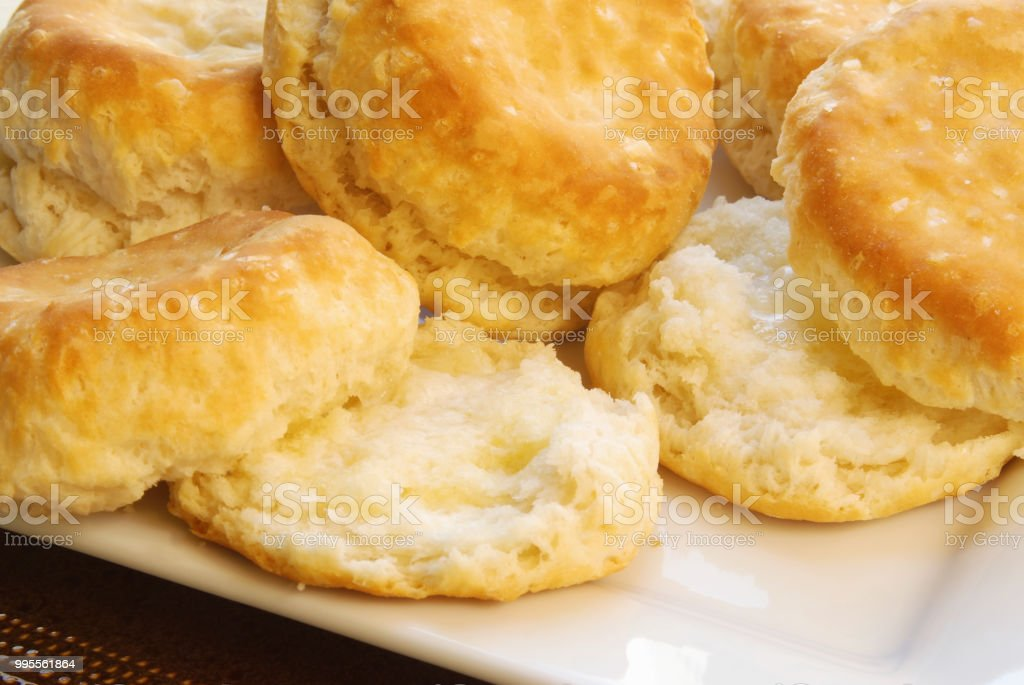 Homemade Baked Buttermilk Biscuits stock photo