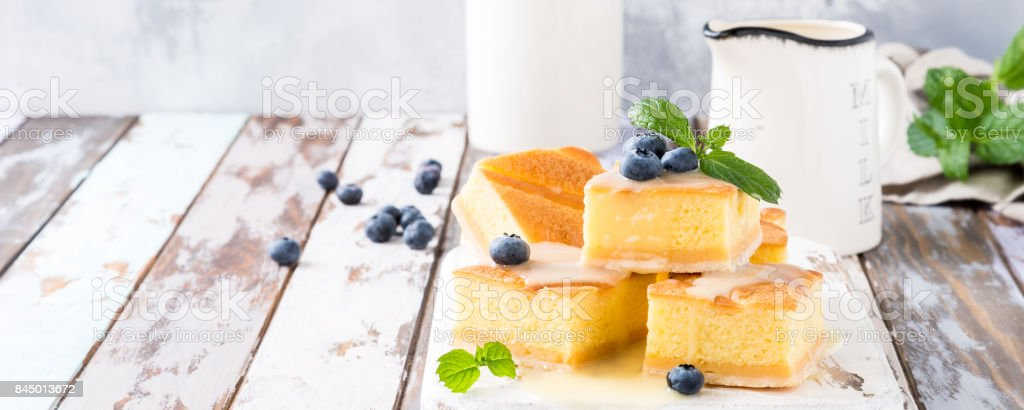 Homemade baked pudding cake stock photo