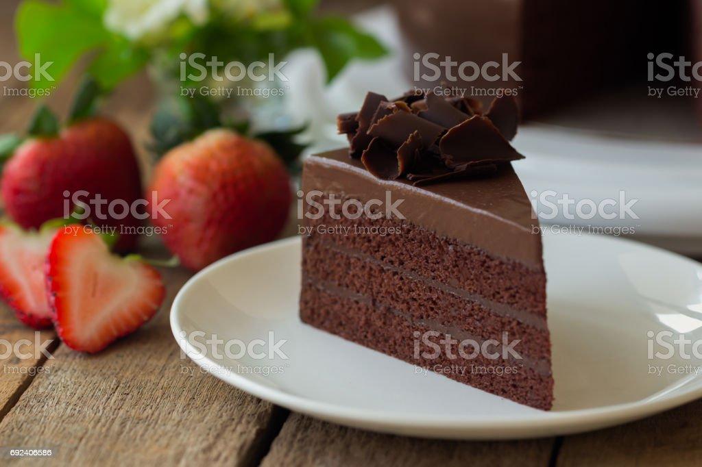 Foto De Padaria Caseira Bolo Fudge De Chocolate Decorado Com