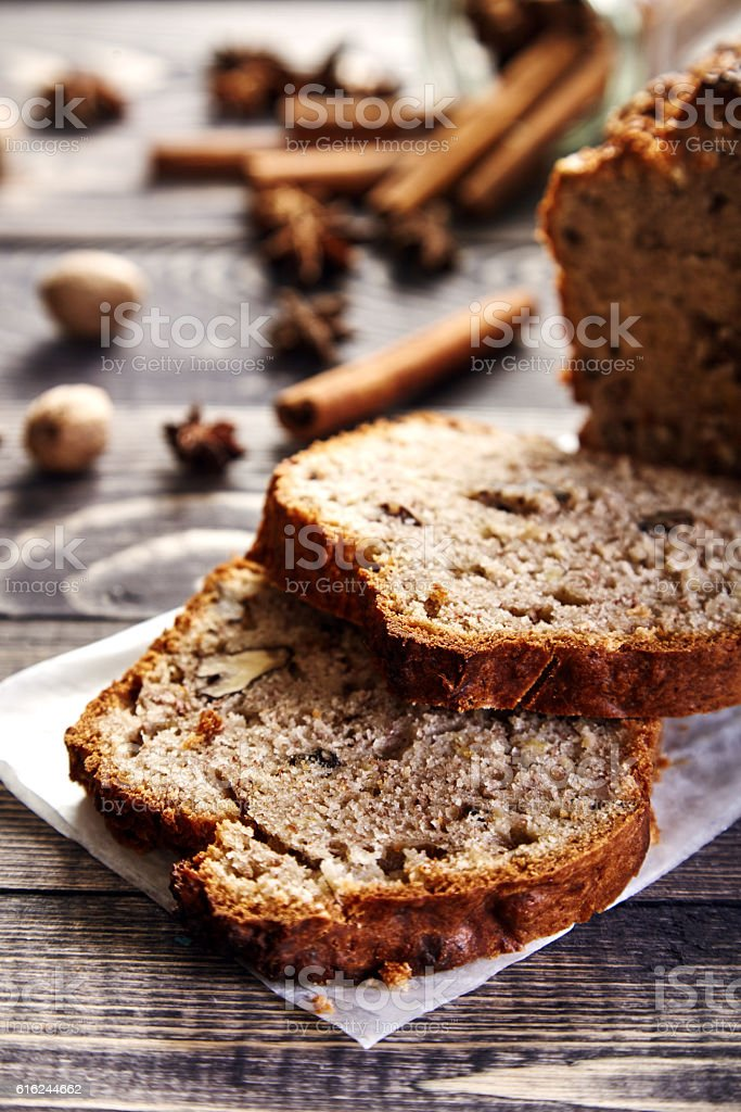 Homemade banana bread with walnuts stock photo