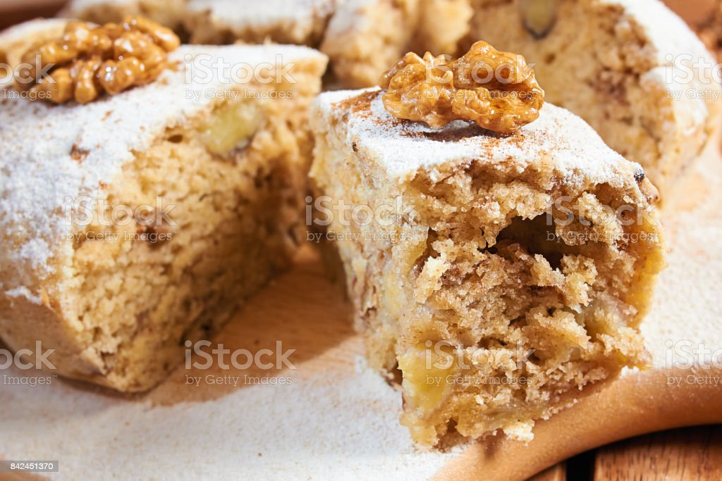 Homemade Banana Cake with nuts and Powdered Sugar stock photo