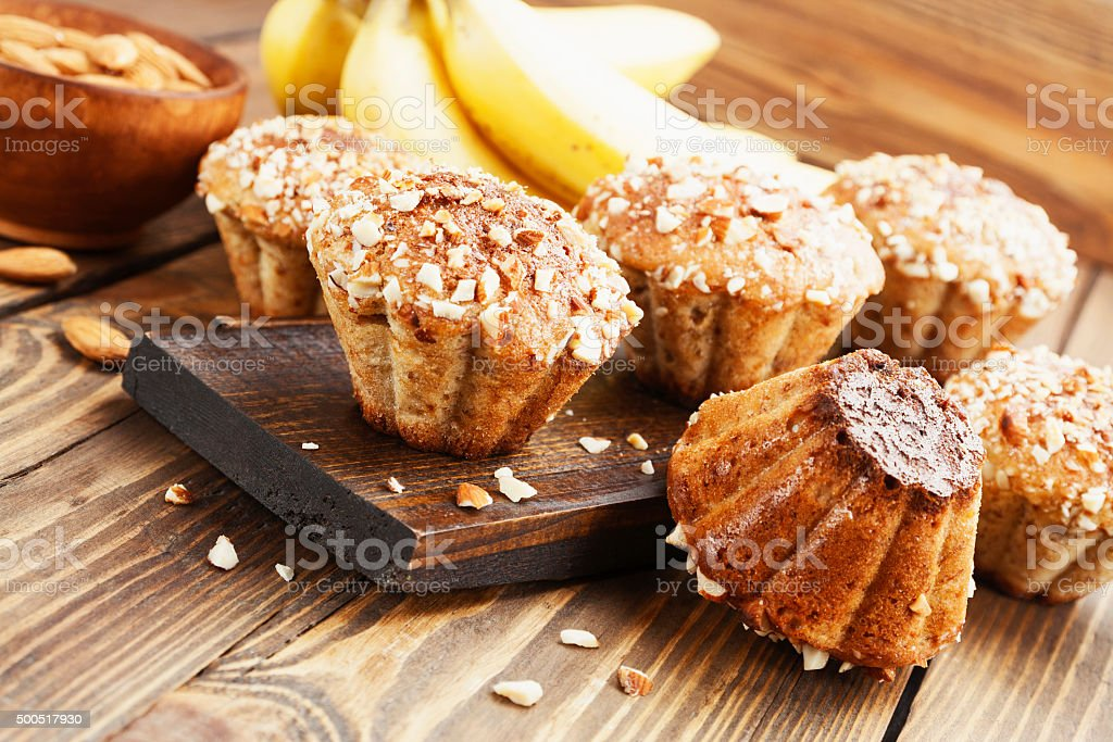 Homemade banana muffins with almond stock photo