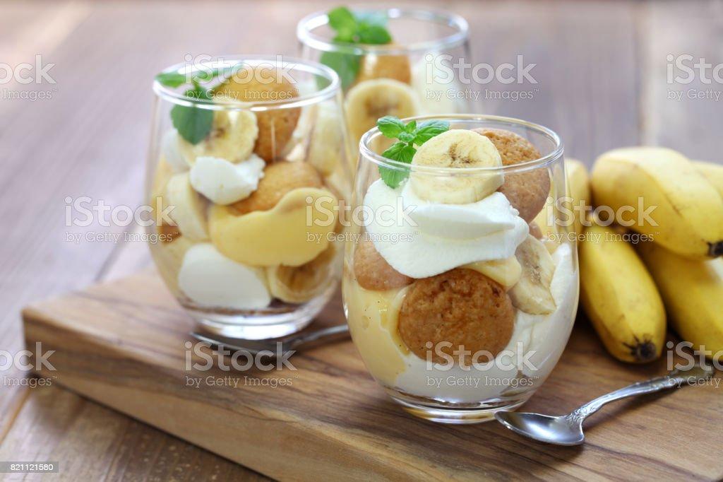 homemade banana pudding, Southern dessert stock photo