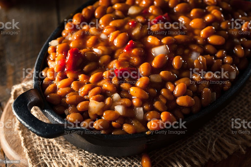 Homemade Barbecue Baked Beans stock photo