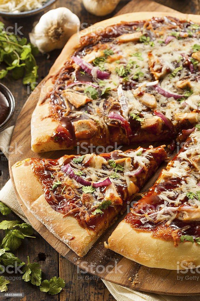 Homemade Barbecue Chicken Pizza stock photo