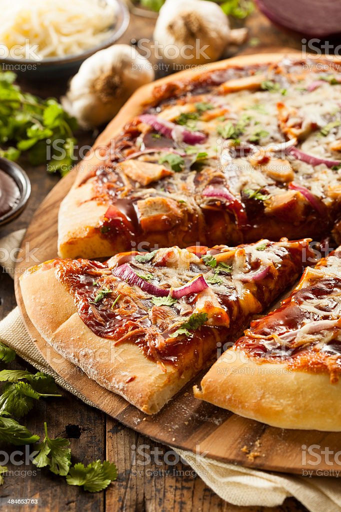 Homemade Barbecue Chicken Pizza stock photo