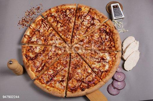 istock Homemade barbecue chicken pizza. 947902244