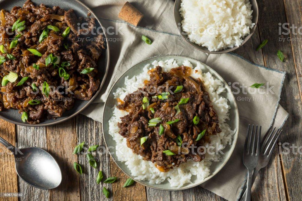 Homemade Barbecue Korean Beef Bulgogi stock photo