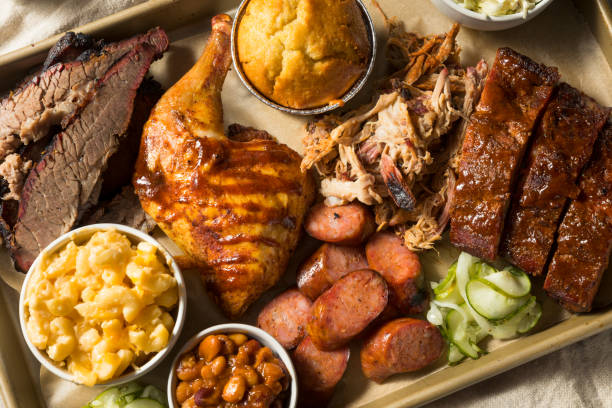 Homemade Barbecue Platter with Ribs stock photo