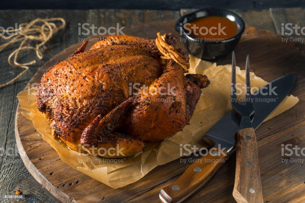 Homemade Barbecue Smoked Chicken stock photo