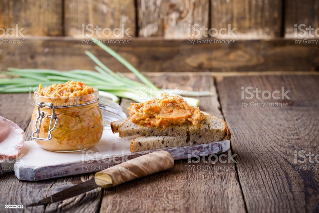 Homemade bean pate, healthy vegetarian food stock photo
