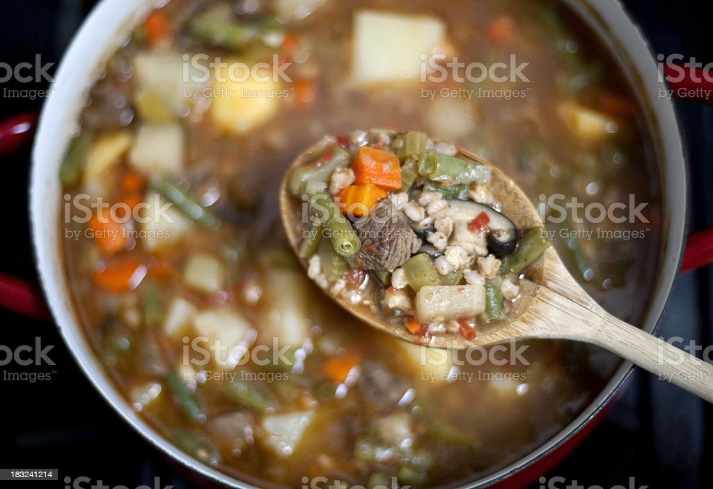 Homemade Beef Barley soup stock photo