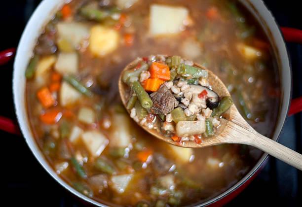 Homemade Beef Barley soup stock photo