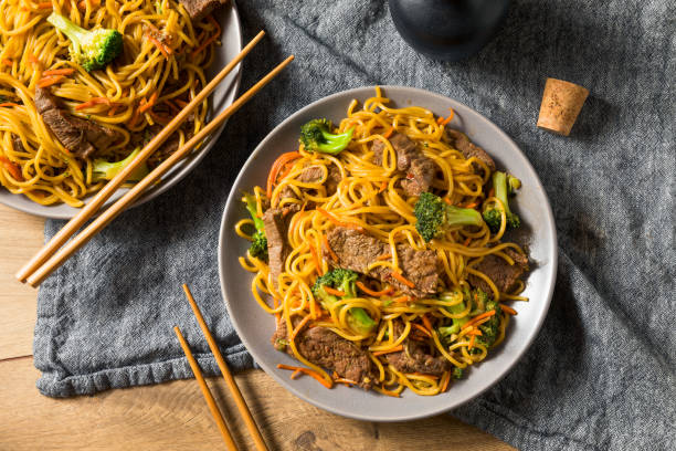Homemade Beef Lo Mein Noodles stock photo