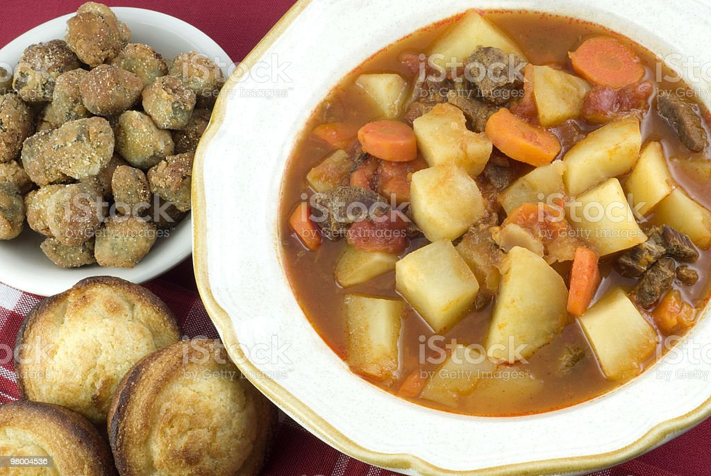 Homemade Beef Stew with Cornbread Muffins royalty-free stock photo