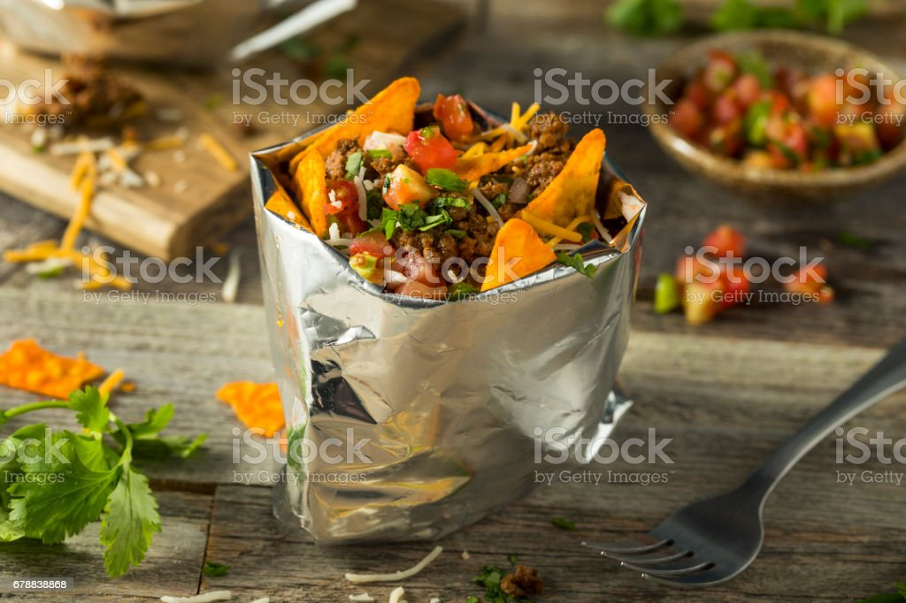 Homemade Beef Taco in a Bag stock photo