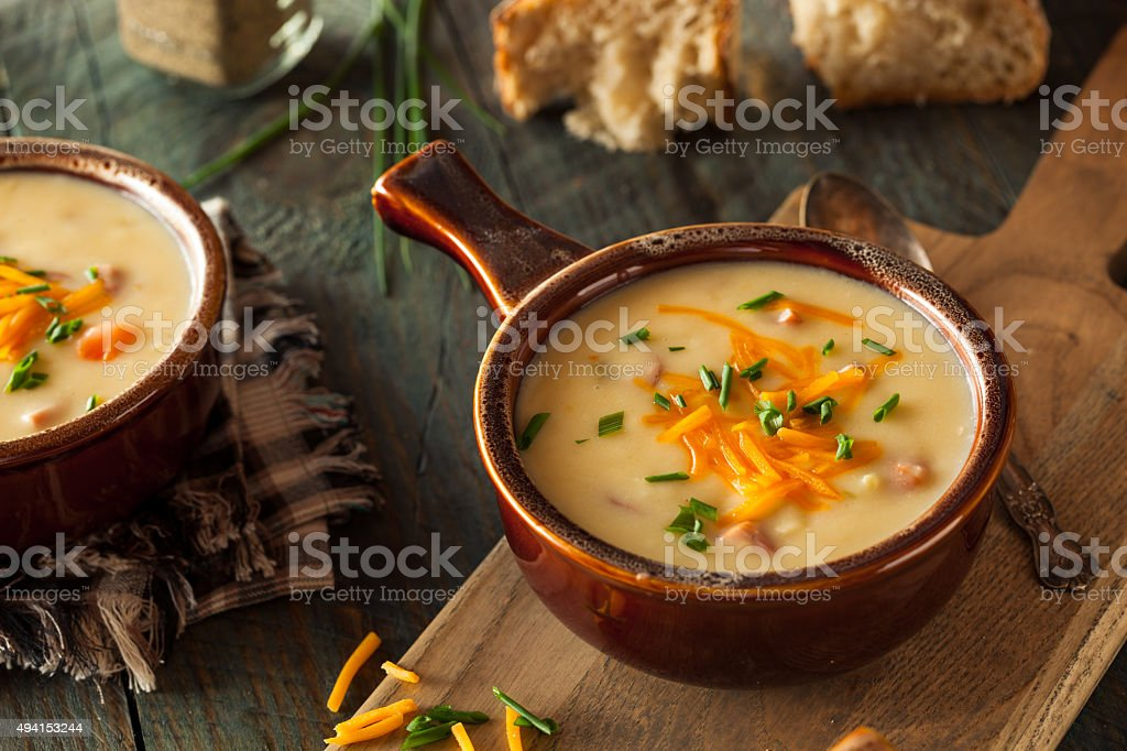 Homemade Beer Cheese Soup stock photo