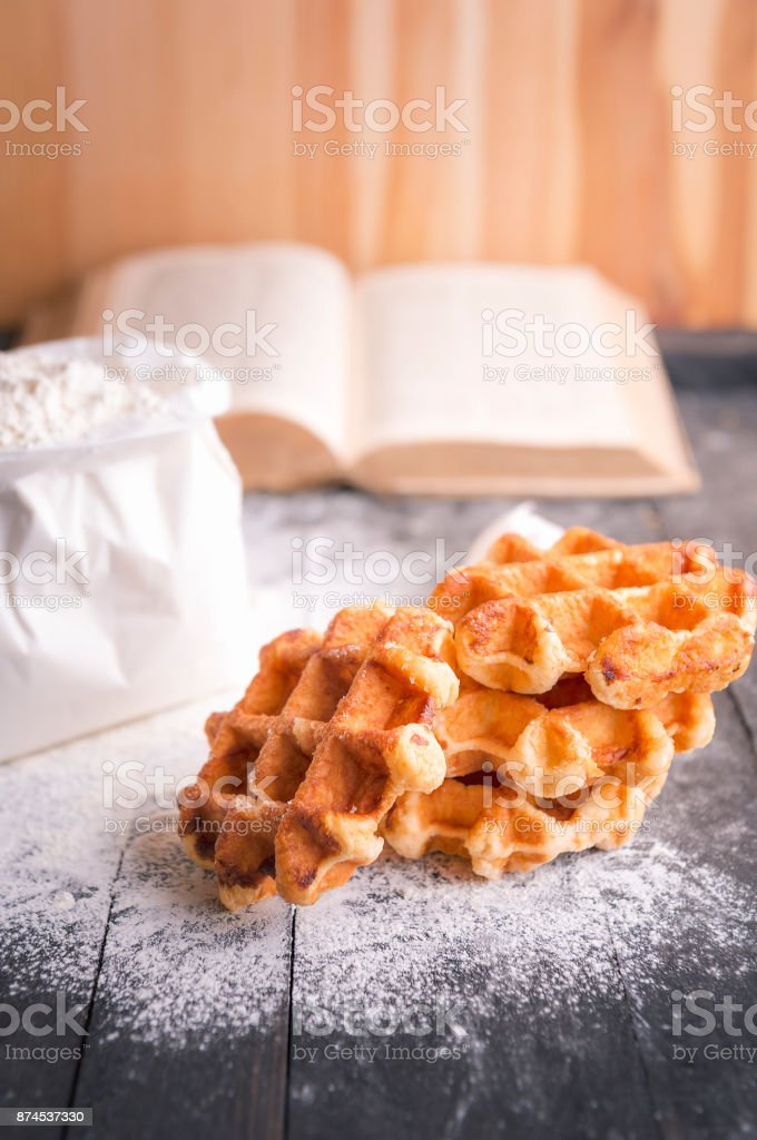 Homemade belgian waffles stock photo
