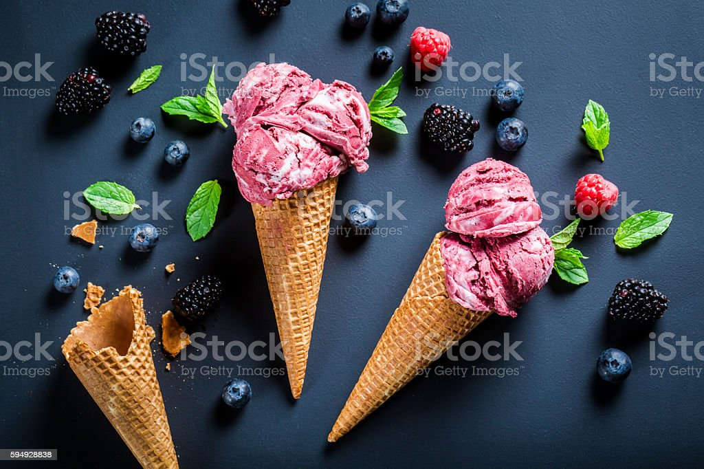 Homemade berry fruits ice cream in waffels - Photo