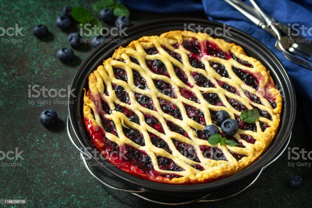 Homemade Berry pie. Sweet pie, tart with fresh blueberry. Delicious...