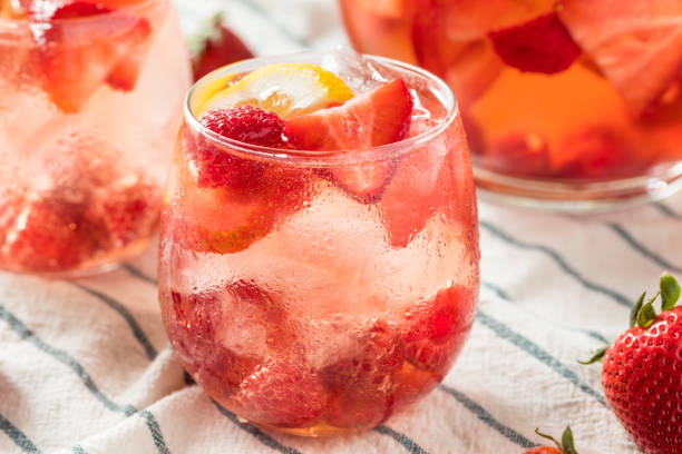 Homemade Berry Rose Sangria stock photo