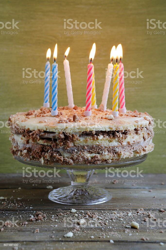 Remarkable Homemade Birthday Cake With Candles Stock Photo Download Image Funny Birthday Cards Online Elaedamsfinfo