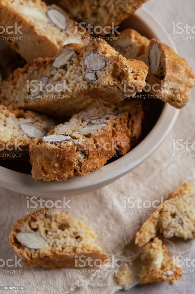 Homemade Biscotti Cantuccini Italian Almond Sweets Biscuits Cookies on light Background Dessert. stock photo