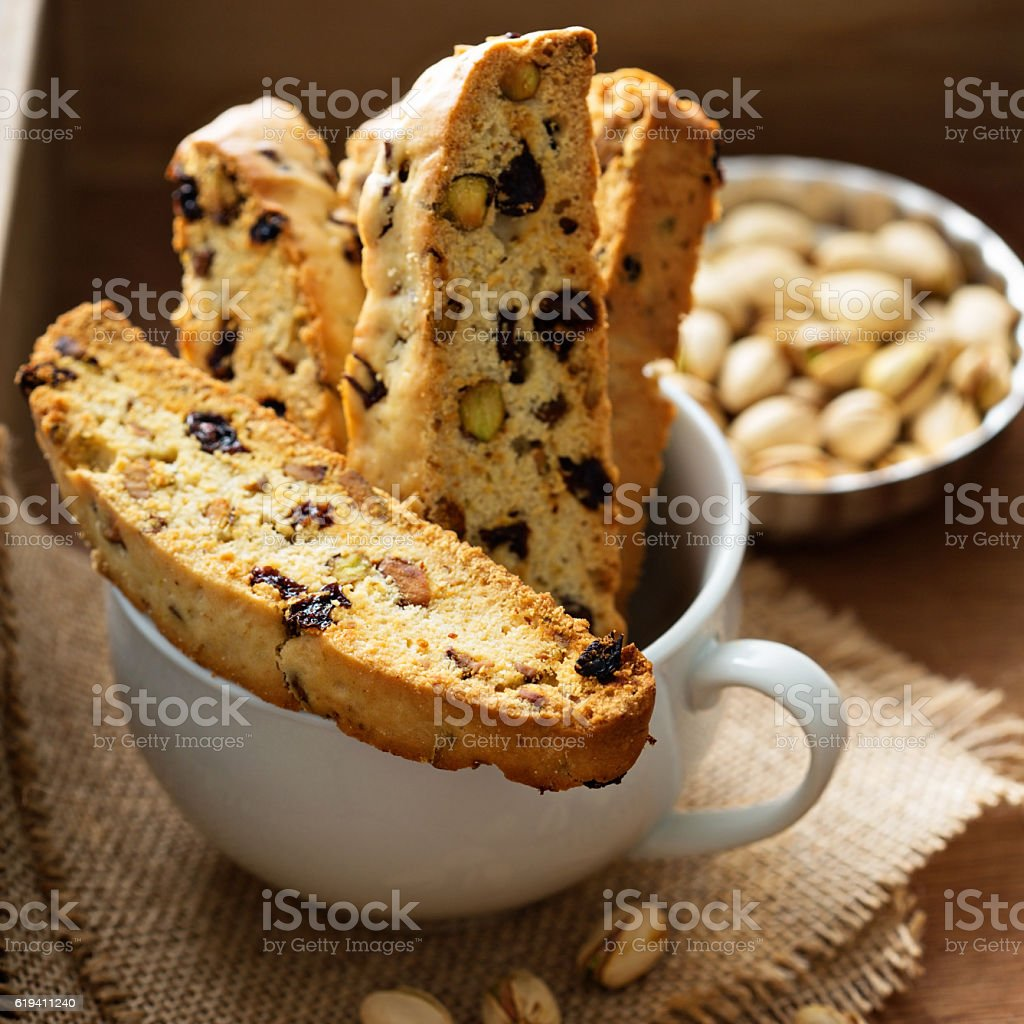 Homemade biscotti in a big cup stock photo