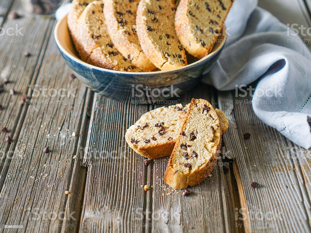 Homemade biscotti or cantuccini with chocolate chips. stock photo