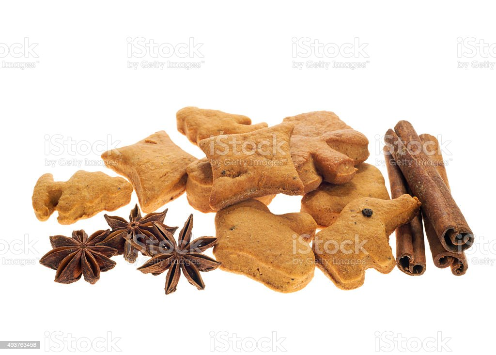 Homemade Biscuits Star Anise And Sticks Cinnamon Isolated On White