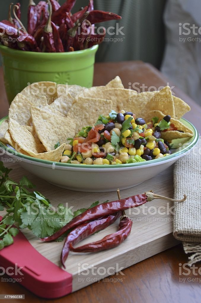 Homemade Black Bean Salsa & Chips stock photo