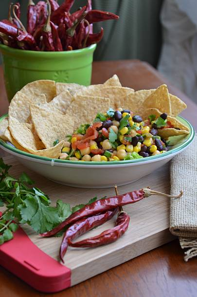 Homemade Black Bean Salsa & Chips stock photo