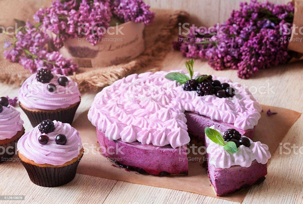 Homemade blackerry purple souffle cake. stock photo