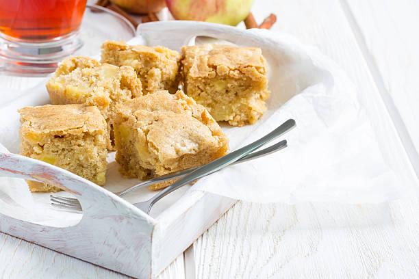homemade blondie brownies apple cake, square slices, copy space - brownie bildbanksfoton och bilder