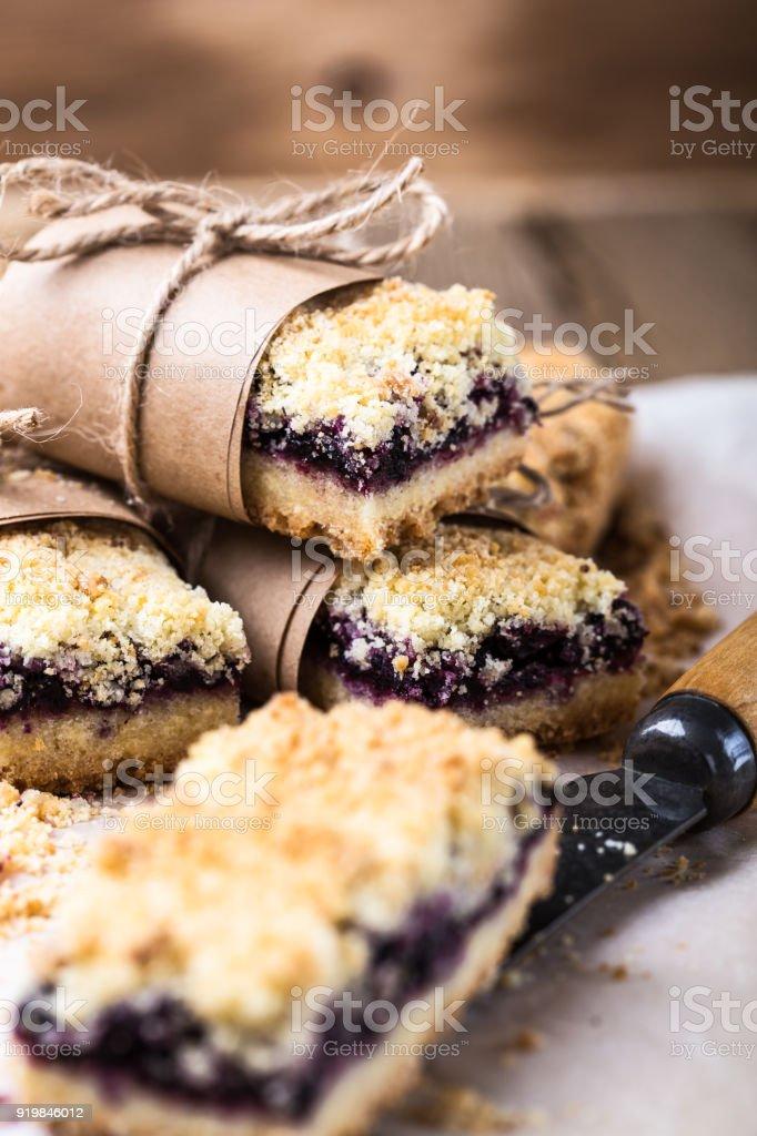 Homemade blueberries crumble bars stock photo