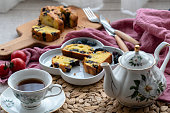 homemade blueberry cake and afternoon tea