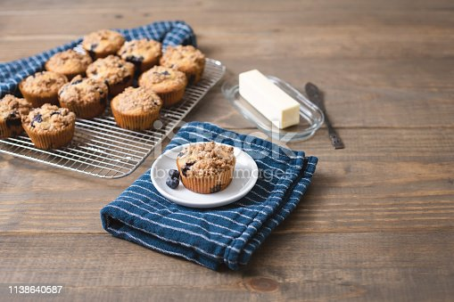 Homemade blueberry muffin isolated on small white plate on blue kitchen towel on rustic wood table.  More muffins on cooling rack in background.  Butter, butter dish, and butter knife in background.