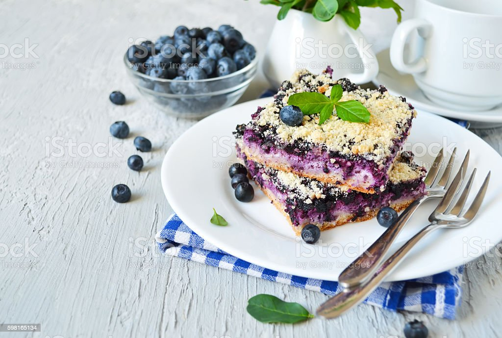 Homemade blueberry pie with ricotta and shtreyzel stock photo
