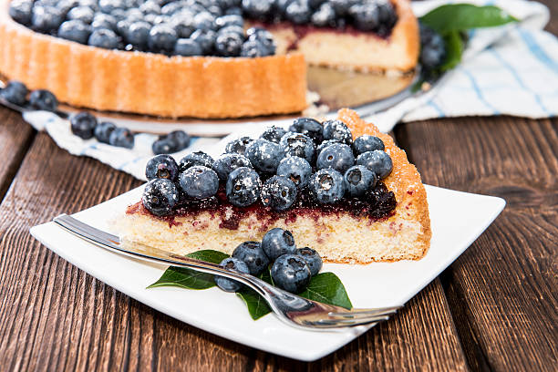 homemade blueberry tart - blueberry pie stock pictures, royalty-free photos & images