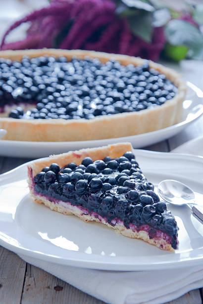 homemade blueberry tart - blueberry pie stock photos and pictures