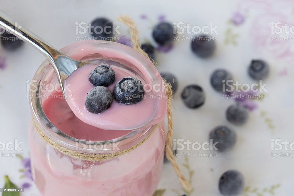 Homemade blueberry yogurt stock photo