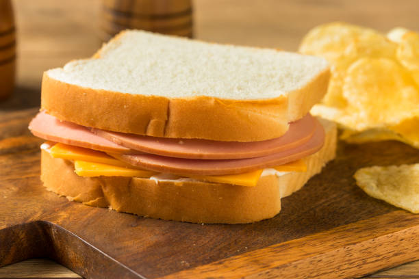 Homemade Bologna and Cheese Sandwich stock photo