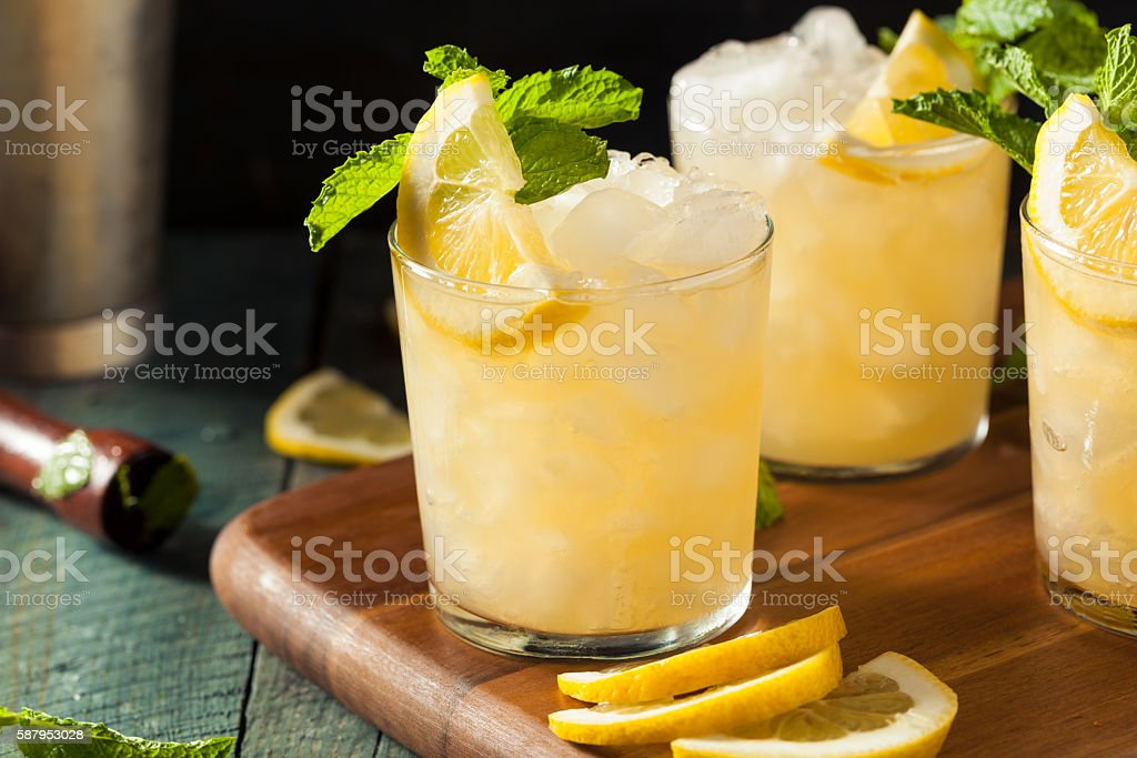 Homemade Boozy Bourbon Whiskey Smash stock photo